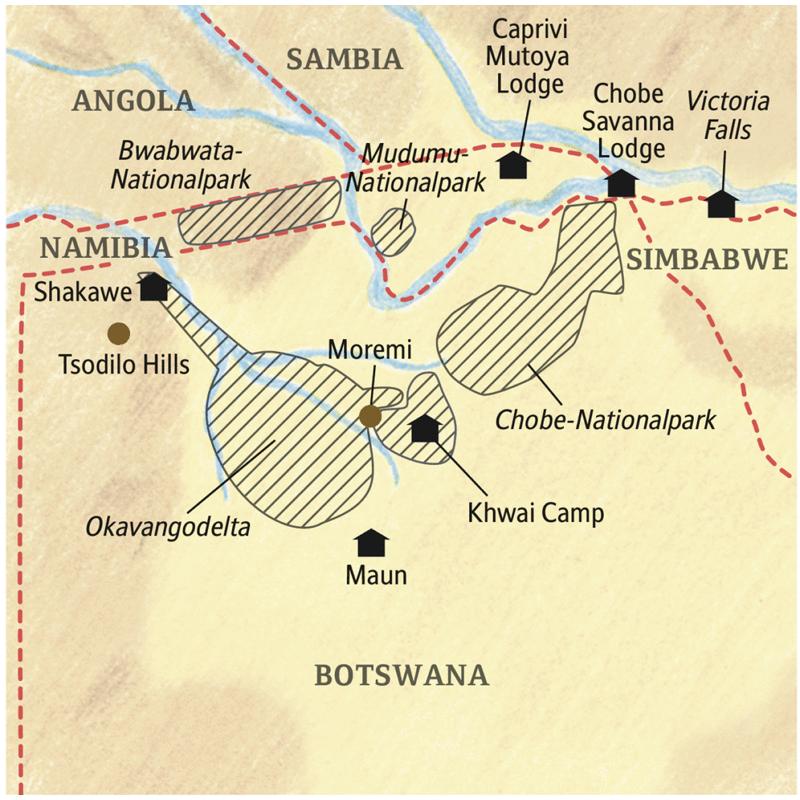 Unsere Reiseroute führt vom Okavangodelta bis zu den Viktoriafällen durch Tropen in Botswana, Namibia und Simbabwe.
