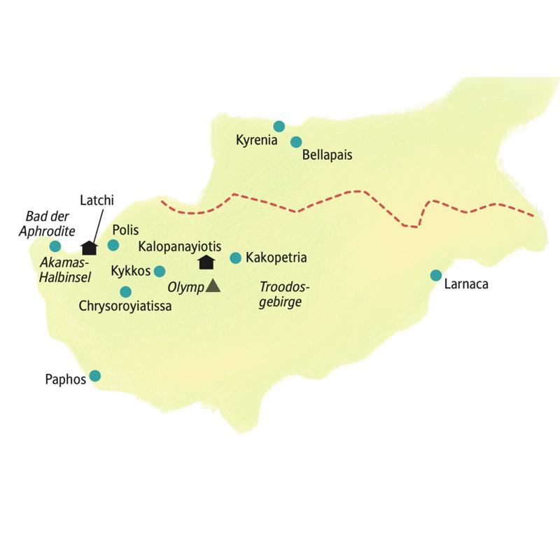 Auf der Rundreise nach Zypern mit Studiosus-Reiseleiter und in kleiner Gruppe lernen Sie das Troodosgebirge, die Akamas-Halbinsel und das orientalische Nordzypern kennen.
