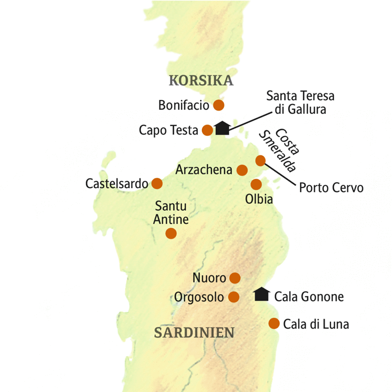 Auf Ihrer smart&small-Reise nach Sardinien wohnen Sie in Santa Teres und Cala Gonone und besuchen auf Ausflügen unter anderem Castelsardo, Porto Cervo und Cala di Luna, auf Wunsch auch Bonifacio auf Korsika.