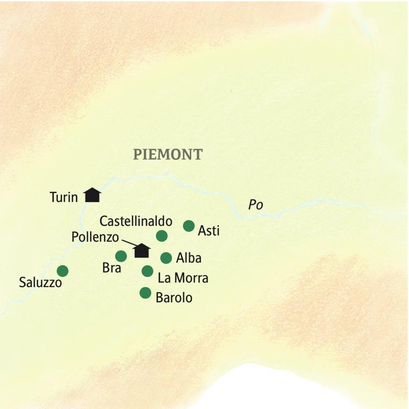 Auf der Genussreise durchs Piemont logieren Sie in Pollenzo und Turin und machen Ausflüge z.B. Barolo, Asti und Saluzzo.