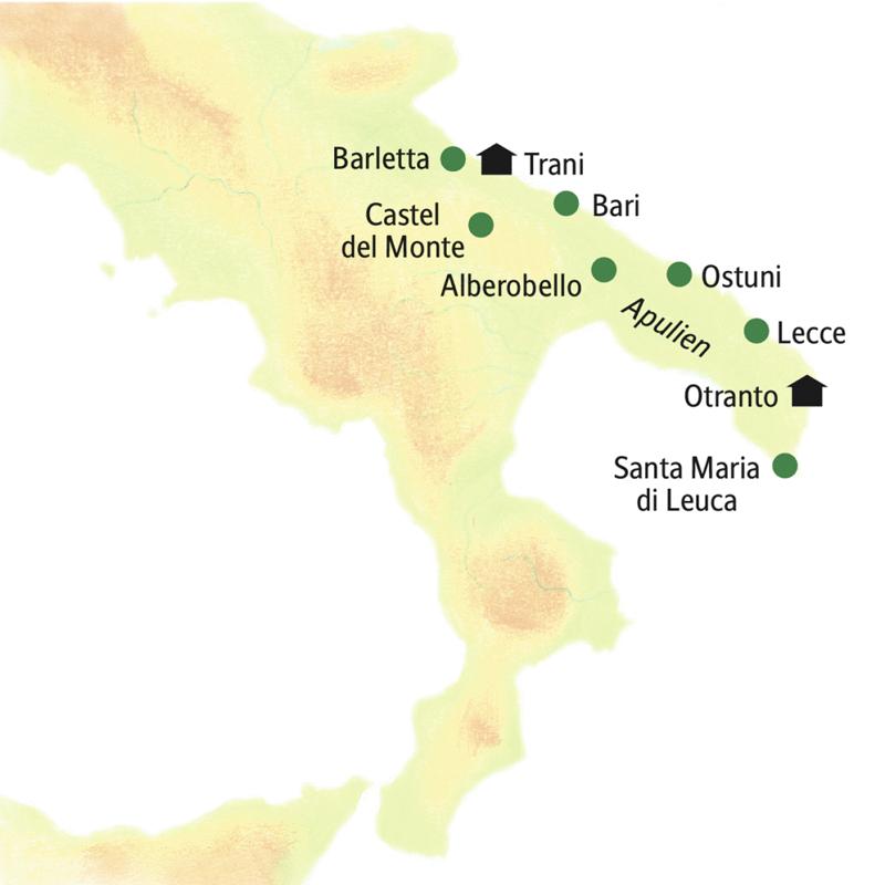 Reisen Sie mit uns in der kleinen Gruppe durch Apulien! Sie logieren in stimmungsvollen Hotels in Trani und Otranto.