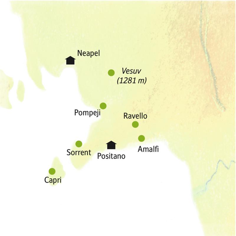 Auf unserer smart&small Reise mit der Gruppe an den Golf von Neapel machen Sie Station in Neapel und Positano und starten von dort aus zu Ausflügen u.a. nach Pompeji und Amalfi
