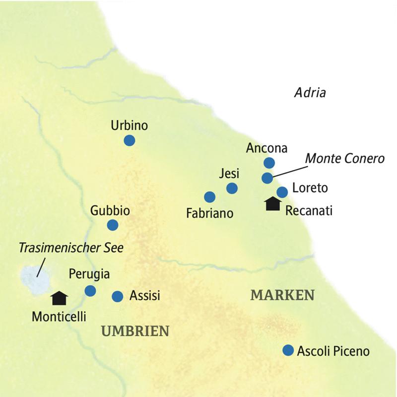 Alle Höhepunkte der Marken und Umbriens liegen auf unserer Reiseroute: Ancona, Ascoli Piceno, Perugia, Assisi.