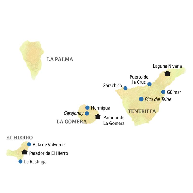 Ihre smart&small Rundreise führt Sie auf drei der Kanarischen Inseln: Teneriffa, El Hierro und La Gomera.