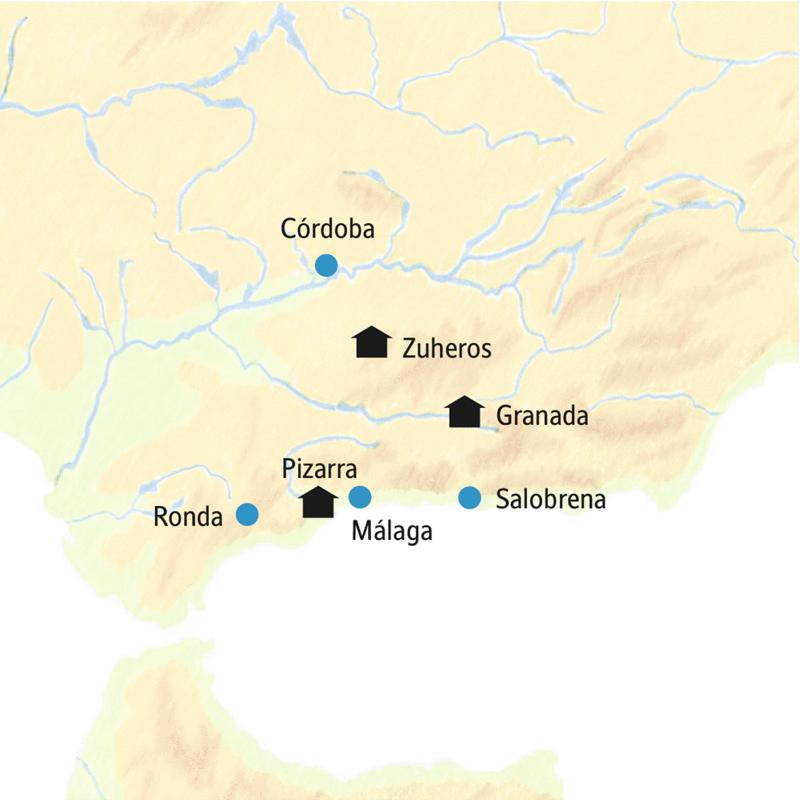 Reiseroute der smart&small Rundreise Andalusien - Siesta vom Alltag mit den Hotelstandorten Zuheros, Granada und Pizarra