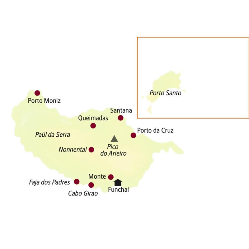 Unsere kleine Gruppe auf Madeira logiert in Funchal. Orte, die auf der Rundreise besucht werden, sind Porto da Cruz, Santana, Queimadas, Porto Moniz, Faja dos Padres und Cabo Girao.