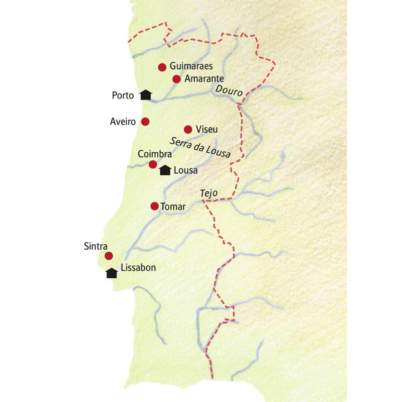 Unsere Rundreise durch Portugal führt von Porto u.a. über Amarante, Coimbra, Lousa, Tomar und Sintra nach Lissabon.