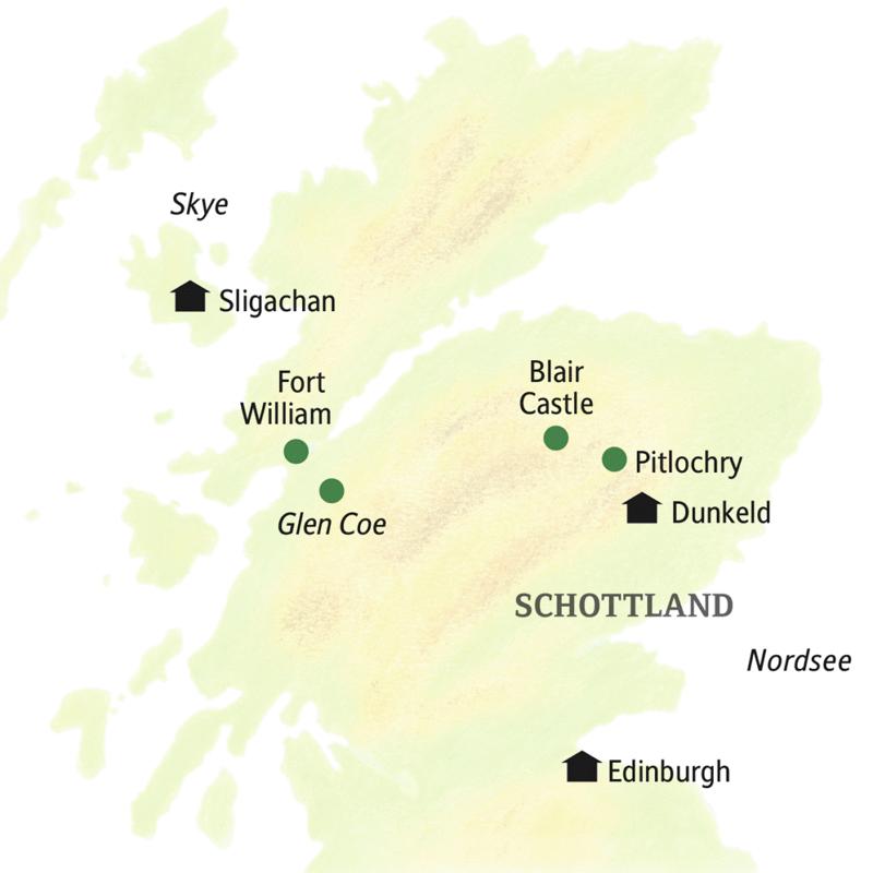 Stationen unserer Rundreise durch Schottland: Dunkeld, Sligachan und Edinburgh