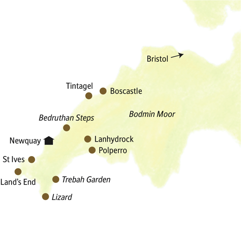 Von Newquay aus durchstreifen wir Cornwell und sehen u.a. St Ives, Tintagel, Bodmin Moor, The Lizard und Land's End.
