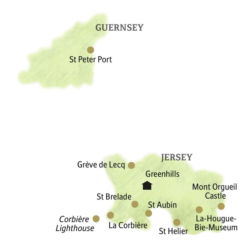 Auf unserer Rundreise auf Jersey lernen wir u.a.  die Inselhauptstadt St Helier, Grève de Lecq und La Corbiére kennen und auch die Insel Guernsey.