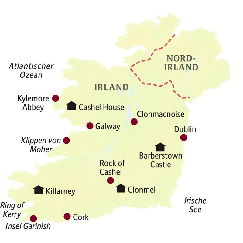 Übernachtungs- und Besichtigungsorte der Smart&Small-Rundreise nach Irland: Dublin, Clonmacnoise, Galway, Cliffs of Moher, Rock of Cashel, Garinish, Cork, Barberstown Castle, Cashel House, Killarney, Clonmal.