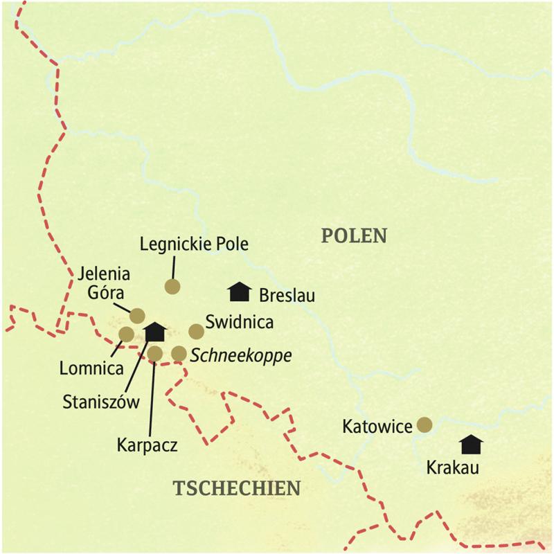 Unsere smart&small Reise durch Südpolen und das Riesengebirge führt Sie in einer kleinen Gruppe über Breslau, Staniszów, Jelenia Gora, Karpacz, das Riesengebirge mit der Schneekoppe und Krakau.