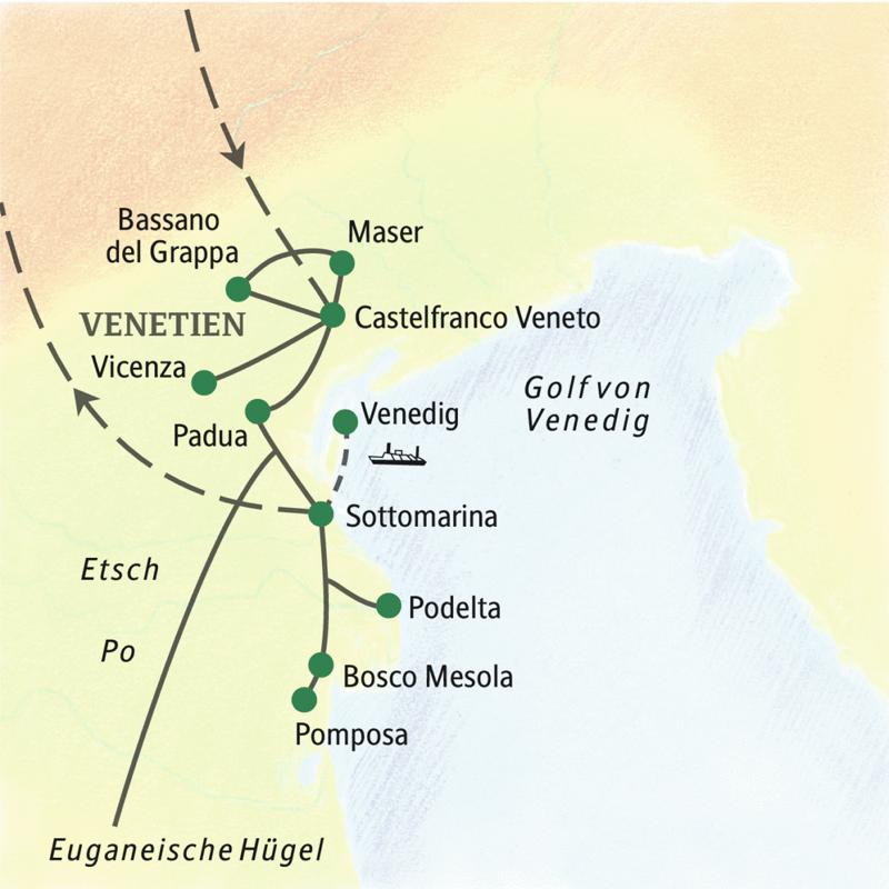 Geruhsame neuntägige Studienreise nach Venetien mit Übernachtungen in einer Landvilla bei Castelfranco Veneto und am Strand von Sottomarina. Entspannte Ausflüge per Boot nach Venedig, per Bus nach Padua, Vicenza und Pomposa.