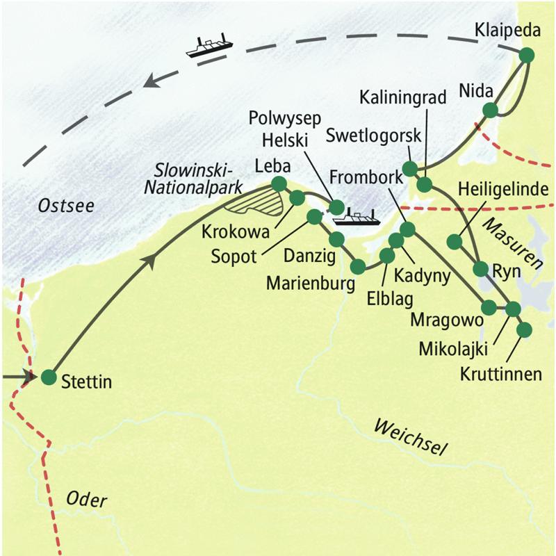 Reiseroute zur Studiosus Studienreise Polen - Litauen in 12 Tagen