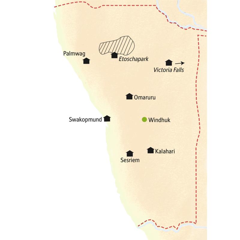 19 Tage durch Namibia in kleiner Gruppe zu ausgesuchten Lodges inklusive Abstecher zu den Viktoriafällen