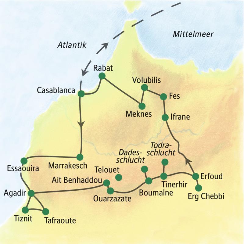 Unserer Reiseroute startet in Casablanca und führt über Marrakesch, Agadir, Erg Chebbi, Fes und Meknes zurück zum Ausgangspunkt.
