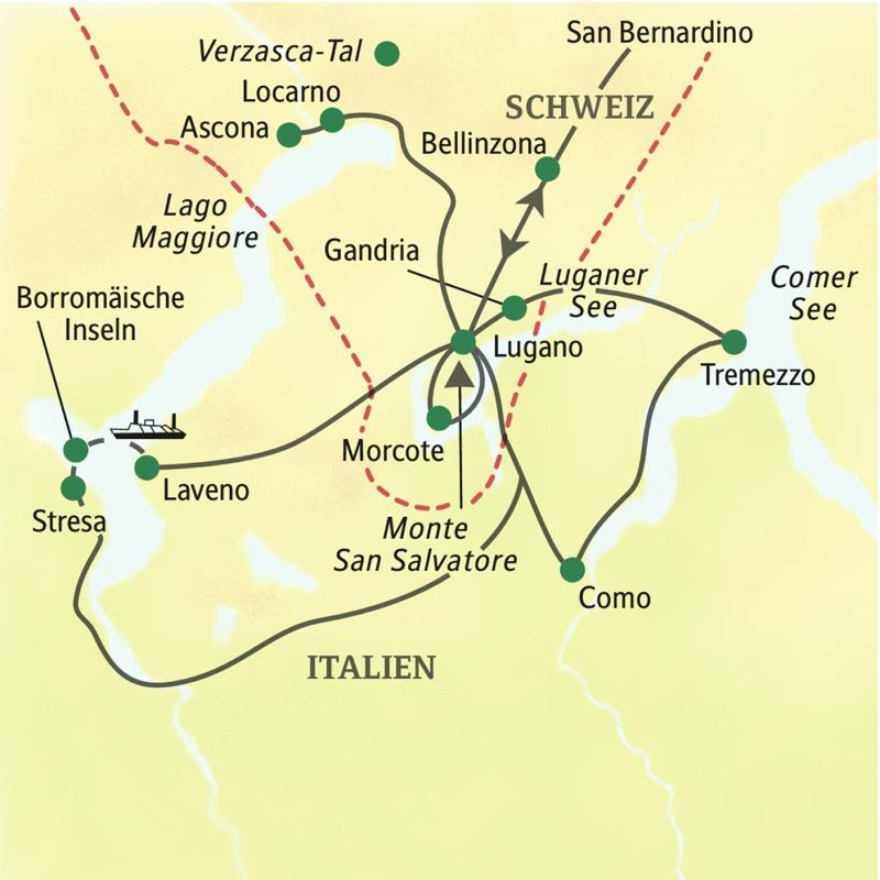 Das schöne Tessin in neun Tagen bequem im Reisebus entdecken. Auf dieser Studienreise mit Muße unternehmen Sie von Lugano aus wundervolle Ausflüge, u.a. zum Lago Maggiore, zu den Borromäischen Inseln, nach Morcote, Como und auf den Monte San Salvatore.