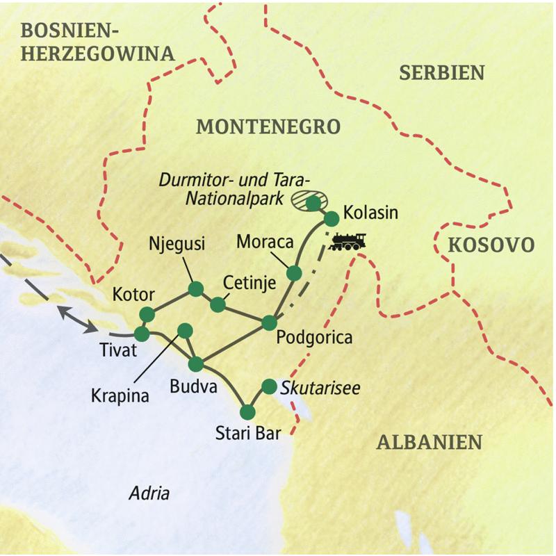 Unsere Reiseroute durch Montenegro startet in Kotor und führt über Njegusi, Cetinje und Moraca nach Kolasin. Nach einer spektakulären Zugfahrt nach Podgorica fahren wir weiter nach Budva, von wo es nach Stari Bar und an den Skutarisee geht.