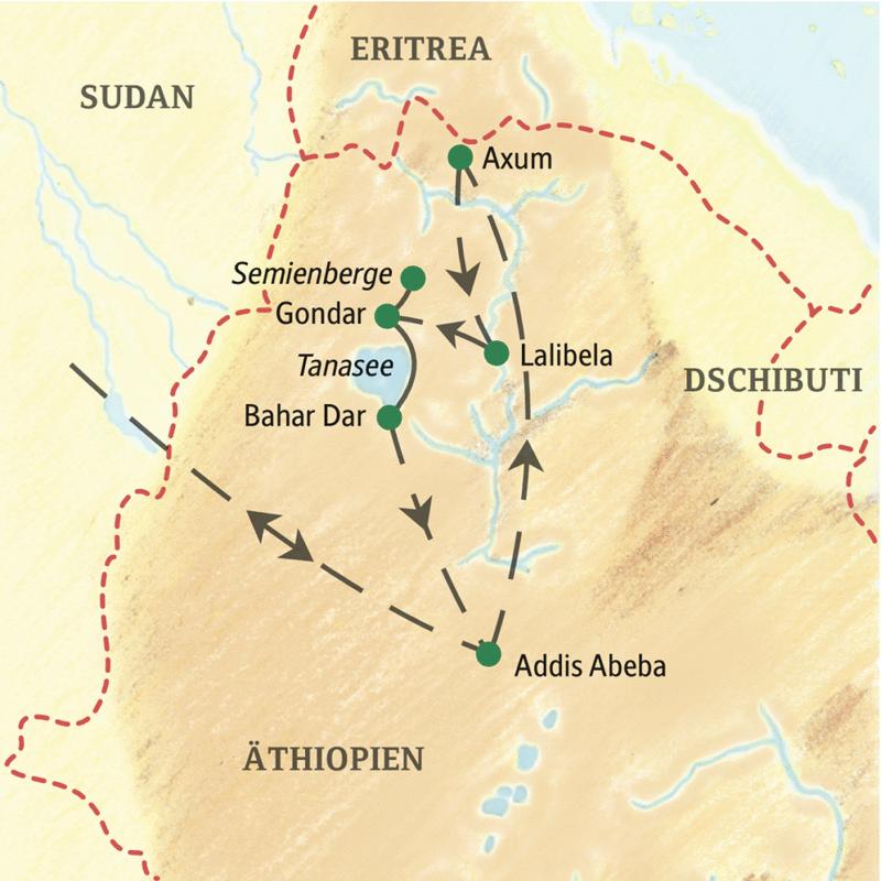 Diese Studienreise nach Äthiopien führt Sie zu den Kulturzentren an der Historischen Route: das antike Axum, die Felsenkirchen von Lalibela, die Kaiserstadt Gondar und ein Inselkloster im Tanasee.