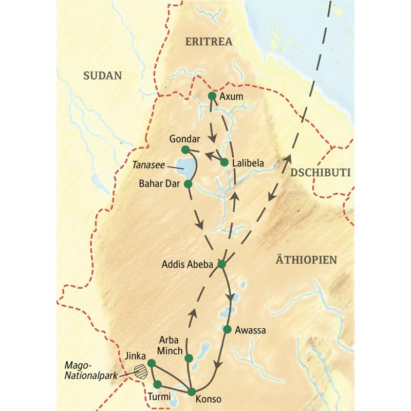 Der Reiseverlauf der Studienreise Äthiopien - mit Südäthiopien umfasst die bedeutendsten Stätten auf der historischen Route, wie Axum oder Lalibela, und eine Rundreise in Geländefahrzeugen zu den Völkern im Süden des Landes.