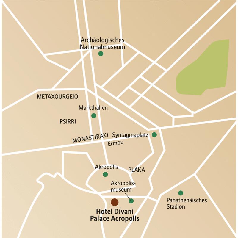 Stadtplan mit Besichtigungspunkten und Ihrem Hotel auf der CityLights-Städtereise nach Athen