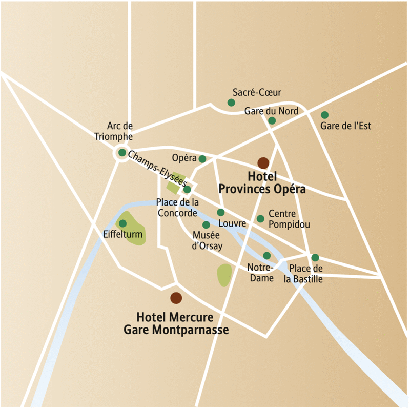 Auf dem Stadtplanausschnitt von Paris sehen Sie die beiden Hotels zur Auswahl für Ihre Städtereise, das Provinces Opéra und das Mercure Gare Montparnasse.