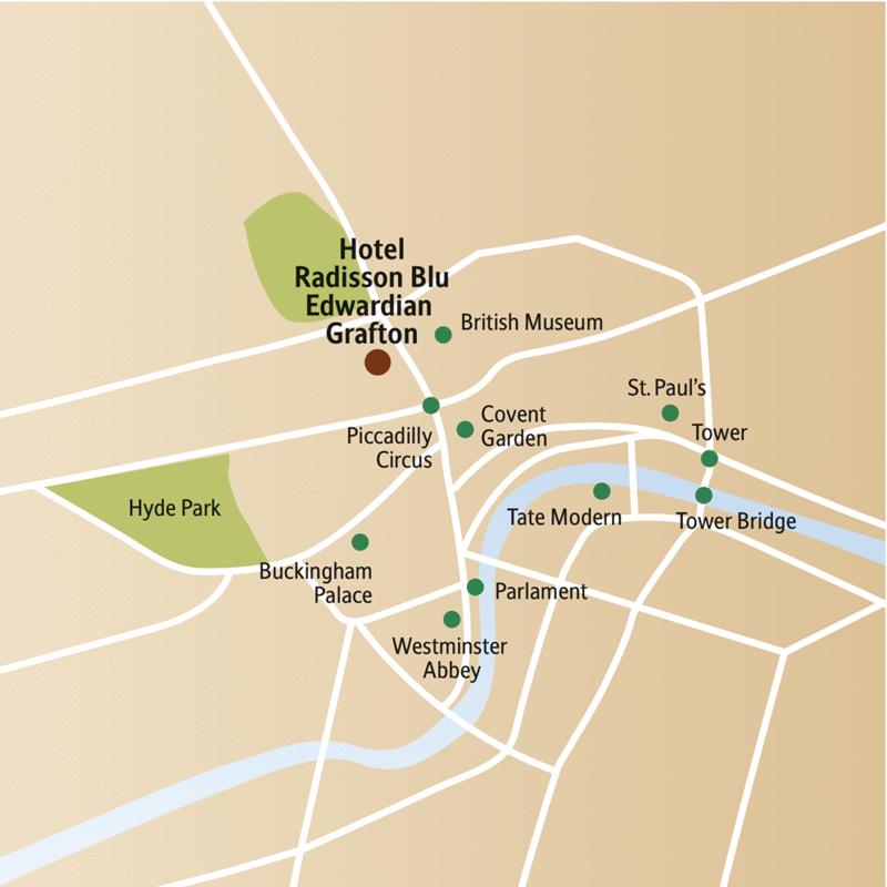 Ihr Hotel während Ihrer 5-tägigen Städtereise nach London liegt zentral in der Nähe des British Museum und des Piccadilly Circus.