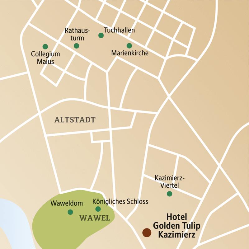 Ihr Hotel Golden Tulip liegt im jüdischen Viertel Kazimierz, das heute zu den angesagtesten Quartieren von Krakau zählt.