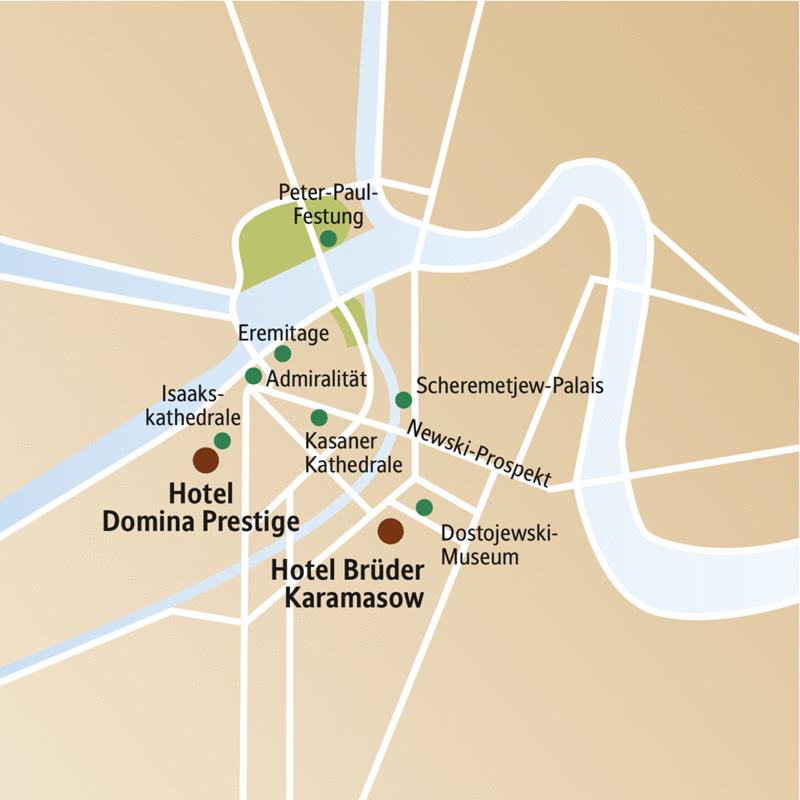 Auf dem Stadtplanausschnitt von St. Petersburg sehen Sie die beiden Hotels zur Auswahl für Ihre Städtereise, das Brüder Karamasow und das Domina Prestige.