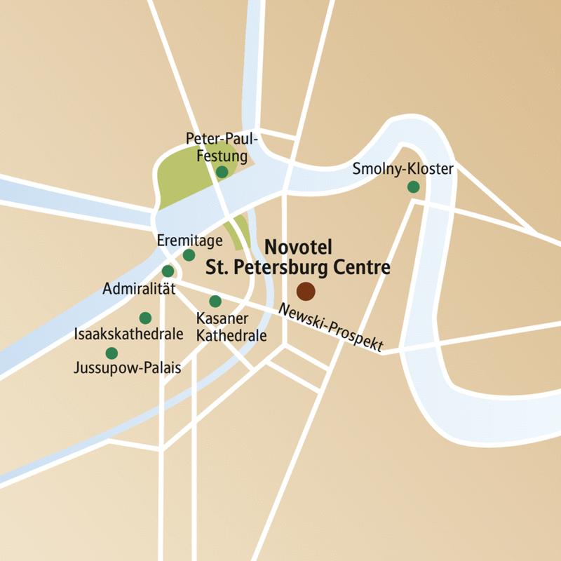 Auf dem Stadtplanausschnitt von St. Petersburg sehen Sie das Novotel St. Petersburg Centre und zahlreiche Sehenswürdigkeiten.