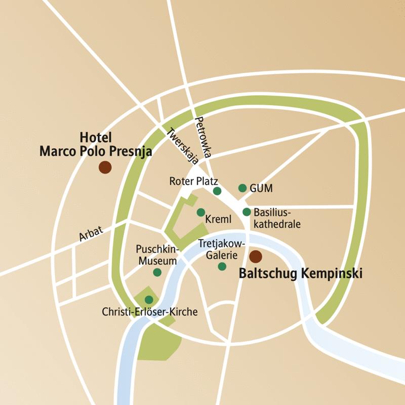 Auf dem Stadtplanausschnitt von Moskau sehen Sie die beiden Hotels zur Auswahl für Ihre Städtereise, das Marco Polo Presnja und das Baltschug  Kempinski.