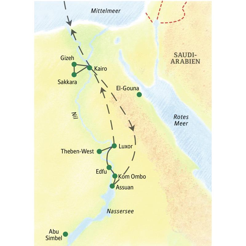Erleben Sie auf der Studienreise Ägypten - die klassische Route Kairo und die Schätze der altägyptischen Kultur an Nil und Nassersee in elf Tagen!