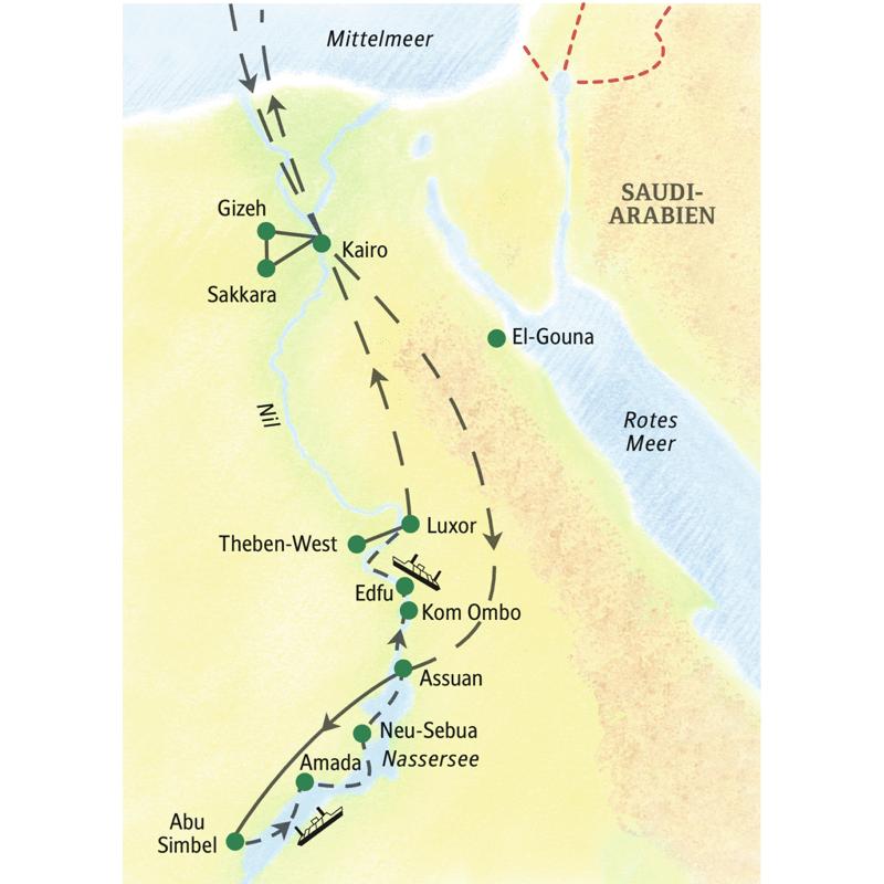 Erleben Sie auf unserer Kreuzfahrt-Studienreise Ägypten mit Kairo, Nil und Nassersee. Wir besuchen die Pyramiden von Gizeh, eindrucksvolle Tempel wie Abu Simbel, Luxor-  und Karnak-Tempel und kommen mit den Menschen des Landes ins Gespräch.
