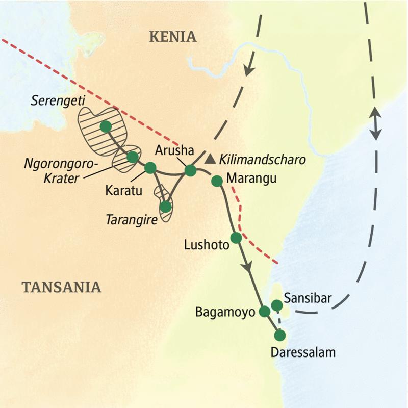 Unsere Reiseroute durch Tansania führt Sie in die Serengeti, zum Ngorongoro-Krater und in den Tarangire-Nationalpark. Zum Abschluss unserer Studienreise Tansania-Sansibar - Serengeti darf nicht sterben lernen Sie die Trauminsel Sansibar kennen.