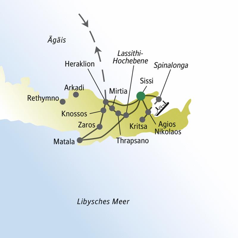Die wichtigsten Stationen dieser Singlereise nach Kreta: Heraklion, Knossos, Spinalonga, Lassithi-Hochebene