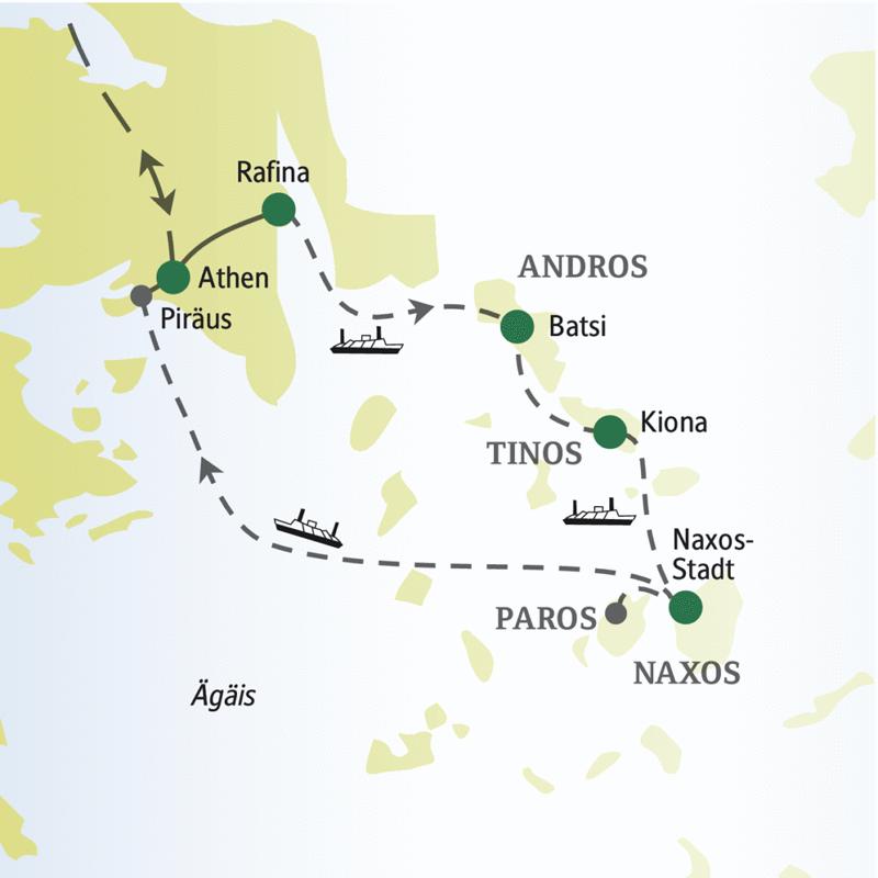 Die Singlereise zu den Kykladen bietet Wanderungen auf Andros, Tinos, Naxos und Paros.