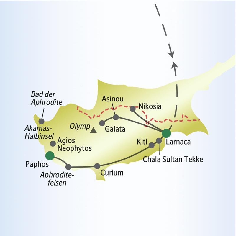 Entdecken Sie in neun Tagen zusammen mit anderen weltoffenen Singles und Alleinreisenden die Sonneninsel: Strände und Troodosgebirge, Nikosia und Paphos.