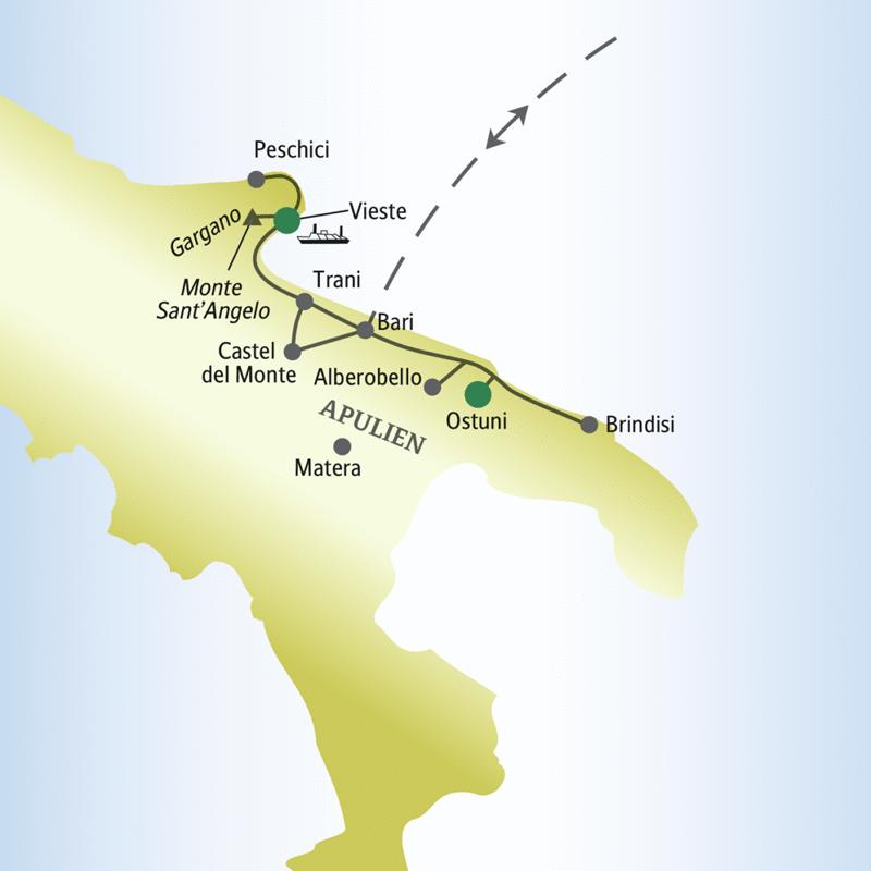 Unsere Rundreise für Singles und Alleinreisende beginnt in Bari und führt u.a. über Ostuni, Brindisi, Alberobello, den Gargano, das Castel del Monte nach Vieste.