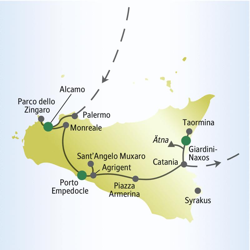 Unsere Reiseroute durch Sizilien startet in Acamo und führt über Palermo, Monreale, Porto Empedocle, Catania nach Giardini-Naxos. Auch den Ätna sehen Sie auf dieser Rundreise.