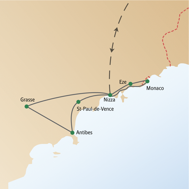 Auf dieser Silvesterreise nach Nizza erleben Sie außerdem die Städte Grasse, Antibes, St-Paul-de-Vence und dazu Monaco.