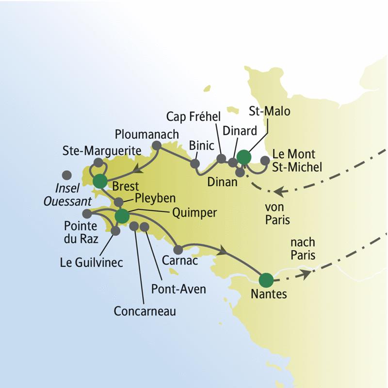 Unsere Rundreise für Singles und Alleinstehende durch die Bretagne führt u.a. über St-Malo, Brest, Quimper und Nantes.