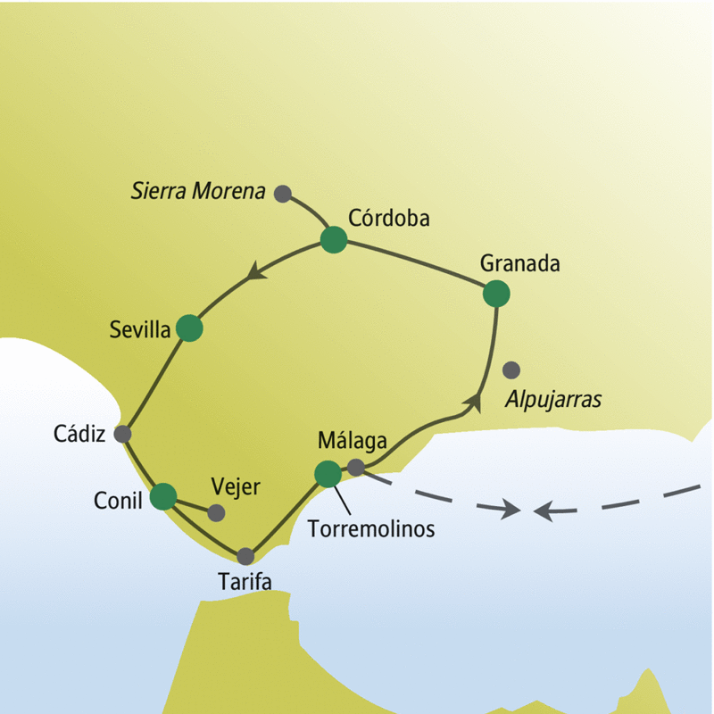 Unsere Reiseroute durch Andalusien führt von Málaga u.a. über Granada, Sevilla und Tarifa zurück nach Málaga.