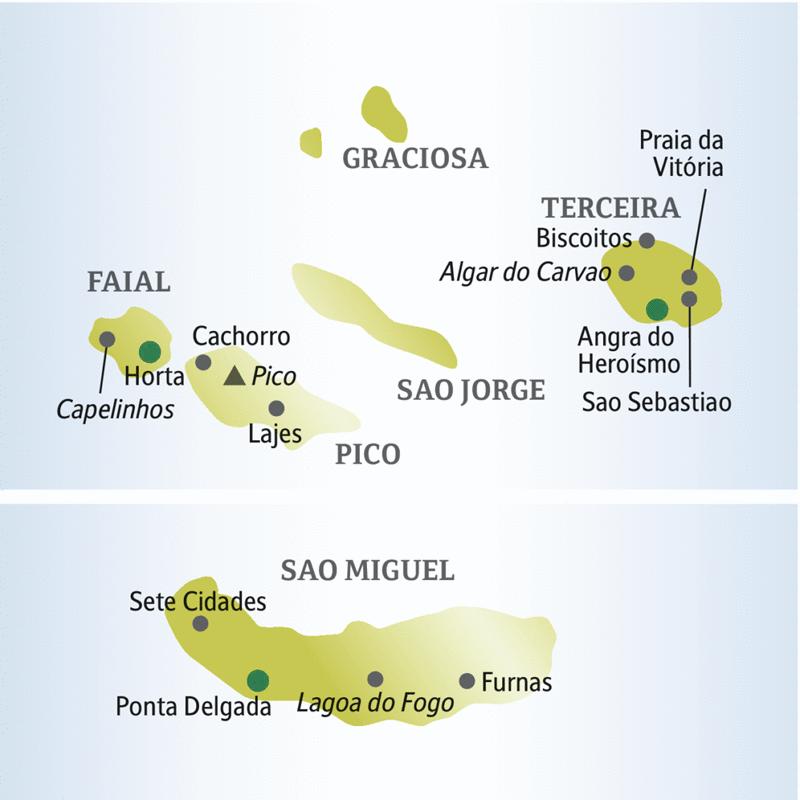 Unsere me&more-Reise zu den Azoren führt auf die Inseln Sao Miguel, Failal, Terceira und Pico