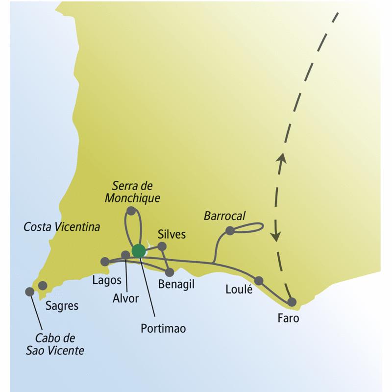 Diese me&more-Rundreise für Singels und Alleinreisende führt durch die Algarve von Faro u.a. über Benagil, Silves und Lagos bis zum Cabo de Sao Vicente.