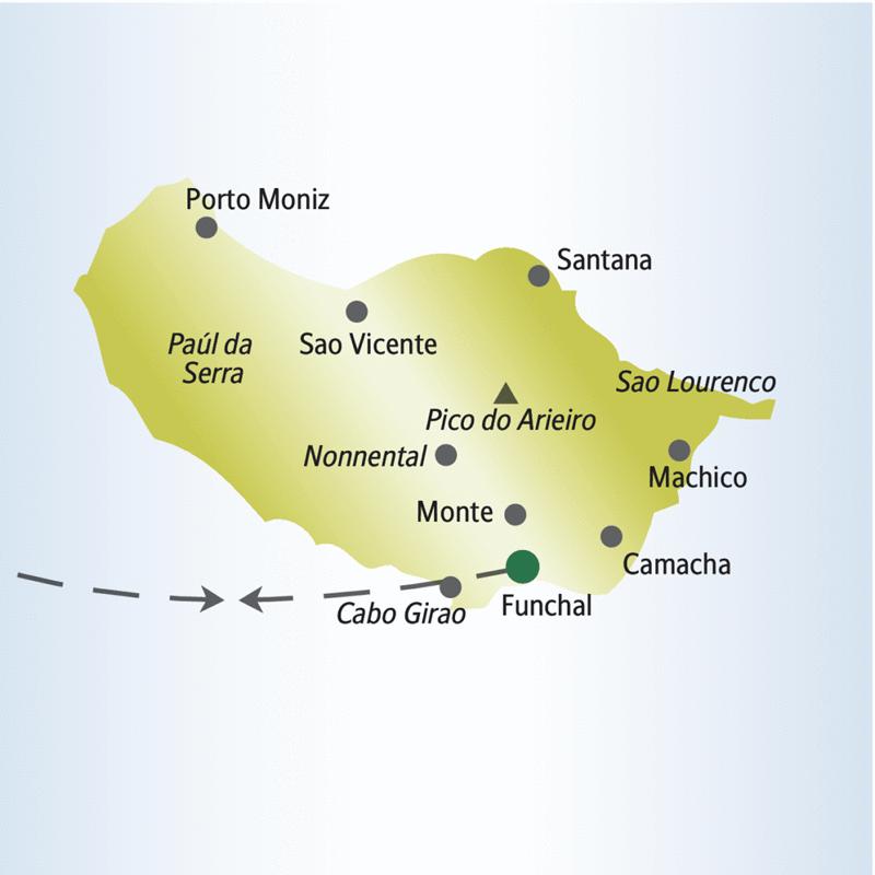 Auf der Silvesterreise für Singles und Alleinreisende nach Madeira unternehmen wir von unserer Basis in Funchal aus Ausflüge u.a. nach Camacha, Santana, Porto Moniz, zum Pico do Arieiro und ins Nonnental.