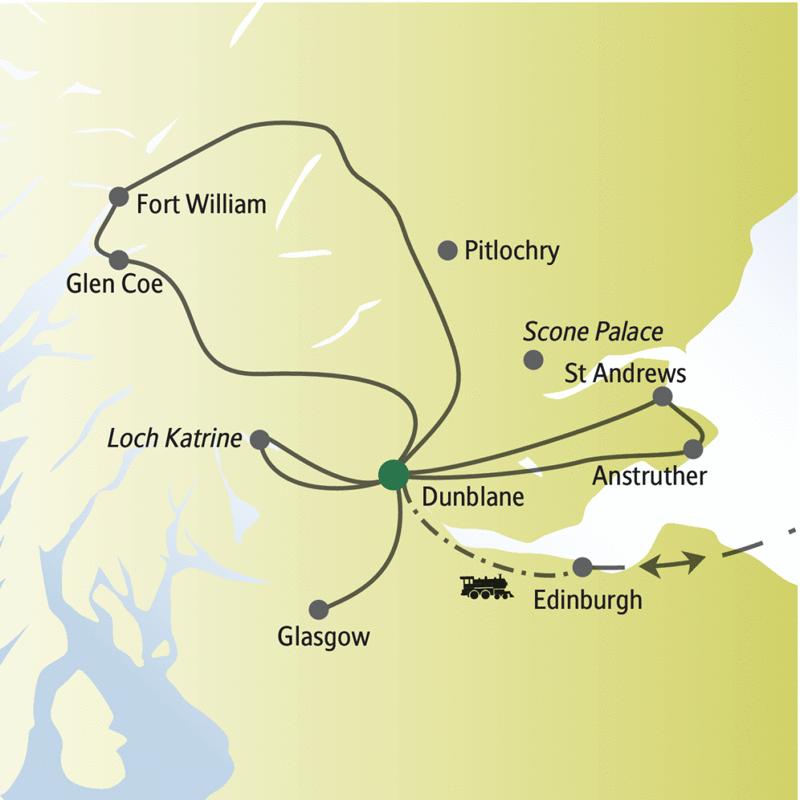 Unsere Singlereise nach Schottland beginnt in Edinburgh; wir wohnen in Dunblane und besuchen u.a. Glasgow, St Andrews, Loch Katrine und Fort William.