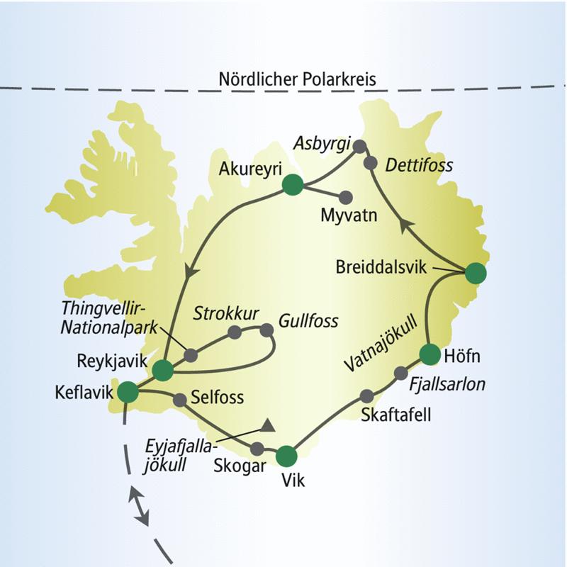 Diese Rundreise für Singles und Alleinreisende führt auf der Ringstraße rund um Island über die Stationen Keflavik, Vik, Höfn, Breidalsvik, Akureyri und Reykjavik.