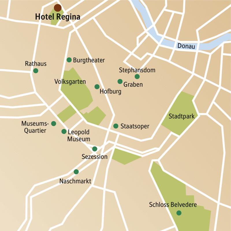Direkt an der Ringstraße und gegenüber der berühmten Votivkirche liegt das Traditionshotel Regina, in dem Sie auf dieser Silvesterreise in Wien logieren. Die Sehenswürdigkeiten der Altstadt und den Silvesterpfad erreichen Sie von dort aus bequem zu Fuß.