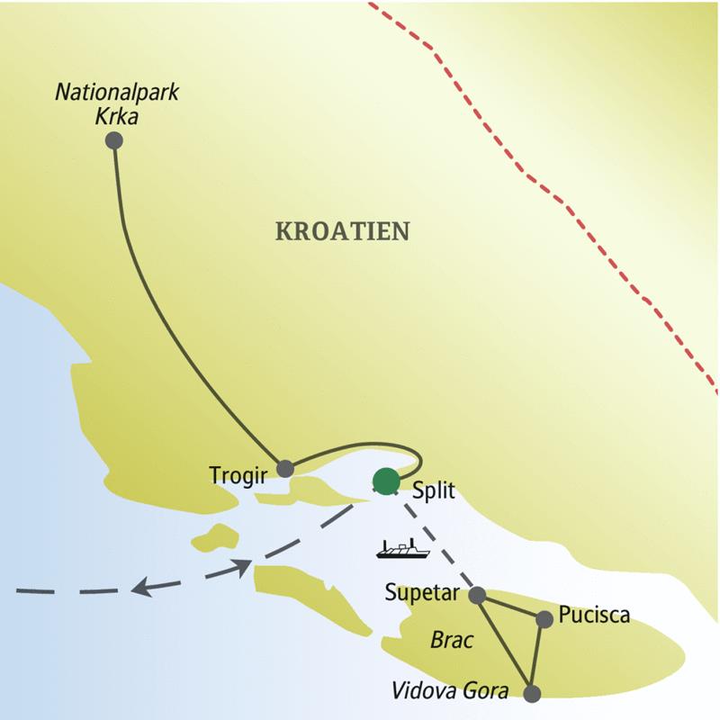 Auf dieser Silvesterreise nach Kroatien logieren sie in Split und machen Ausflüge nach Brac, Trogir und zum Nationalpark Krka.