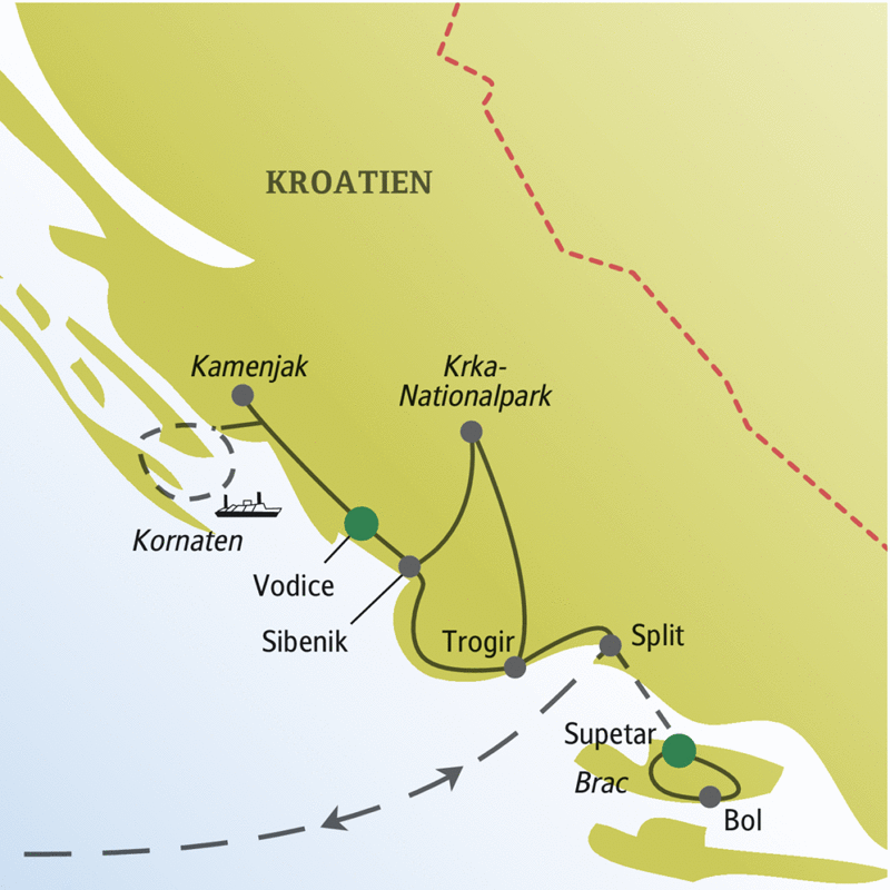 Acht Tage mit anderen Singles und Alleinreisenden in Kroatien. Mit Ihrer Studiosus-Reiseleiterin Split, Sibenik und Trogir und die Insel Brac entdecken!